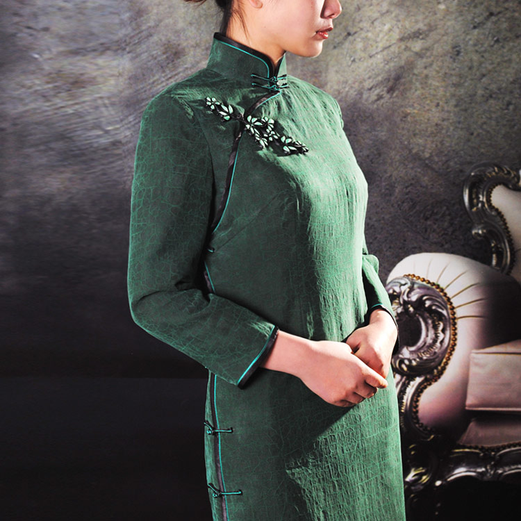Dark green silk cheongsam dress