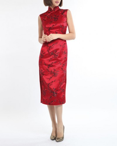 Red with black plum blossom silk brocade Qipao