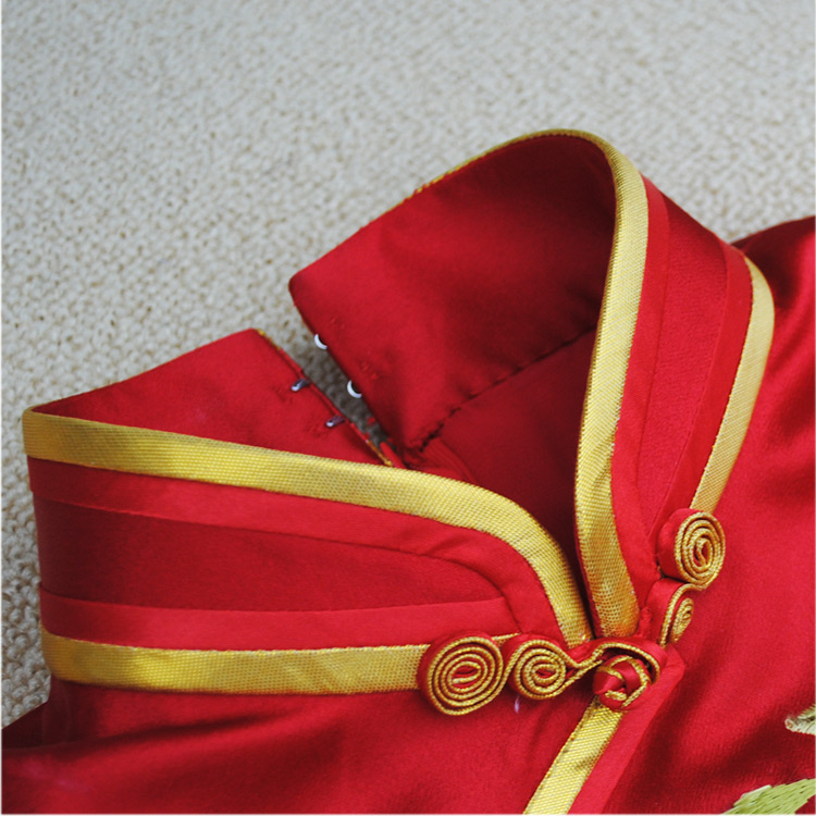 Red silk brocade capped qipao dress