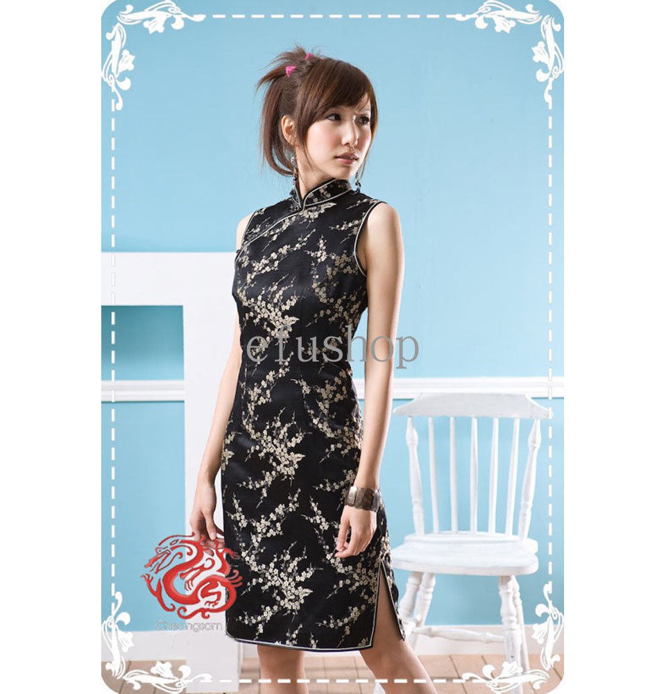 8e867f41d Decription: Black with gold plum blossom brocade. Mandarin  collar,sleeveless. Knee length, single-line buttons. The design combines  cheongsam elements with ...