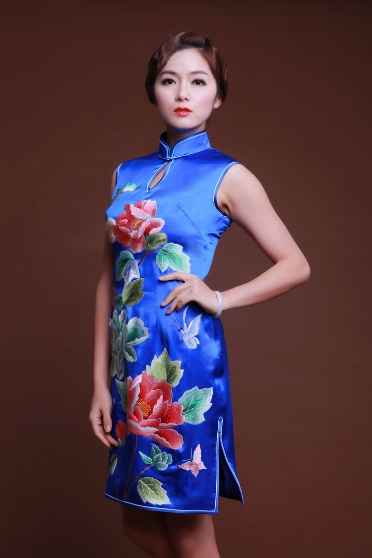 blue short cheongsam dress