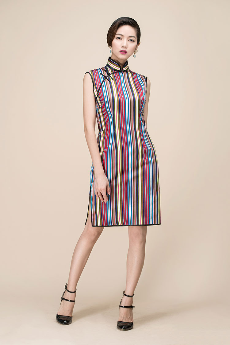 Colorful stripes short qipao dress