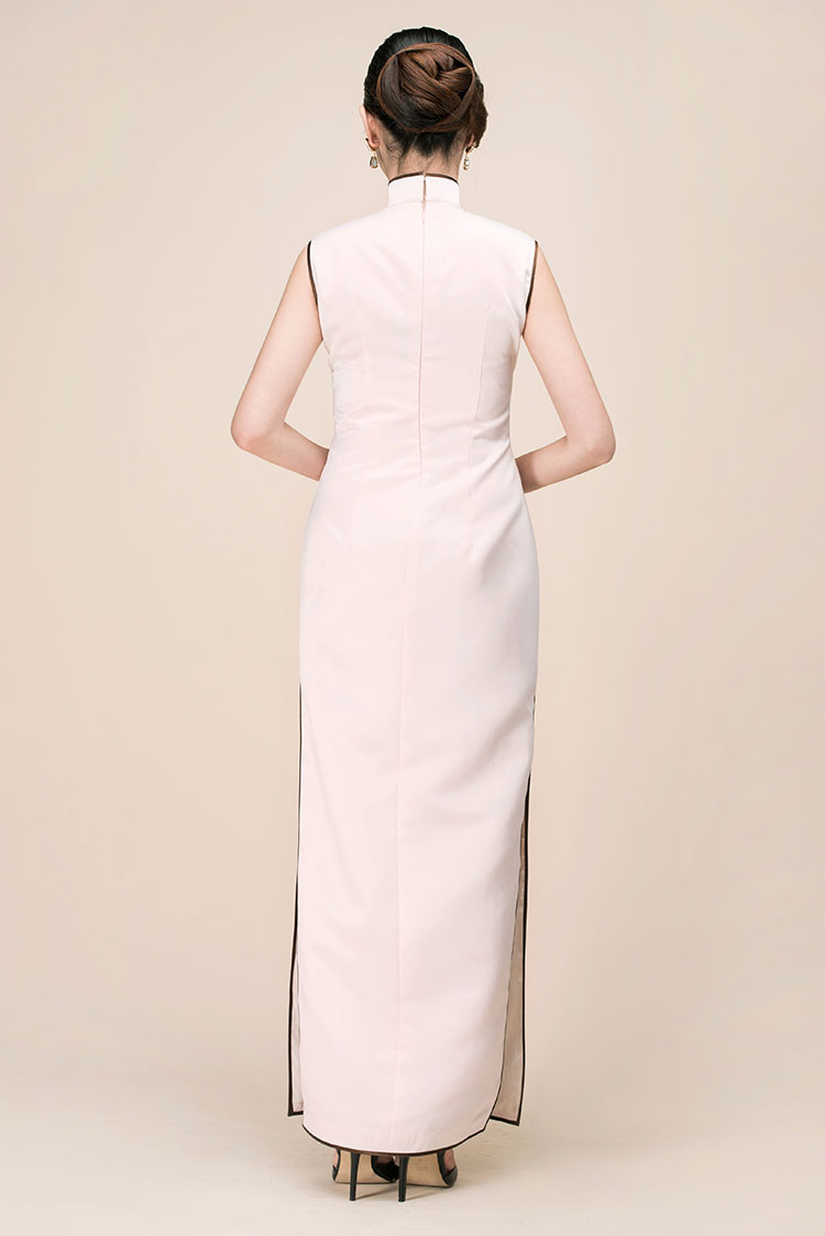 Pink silk with embroidery long qipao dress