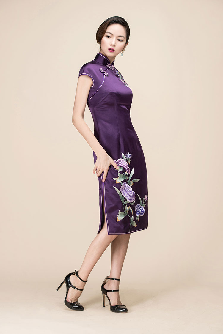 Purple silk with peony embroidery qipao dress