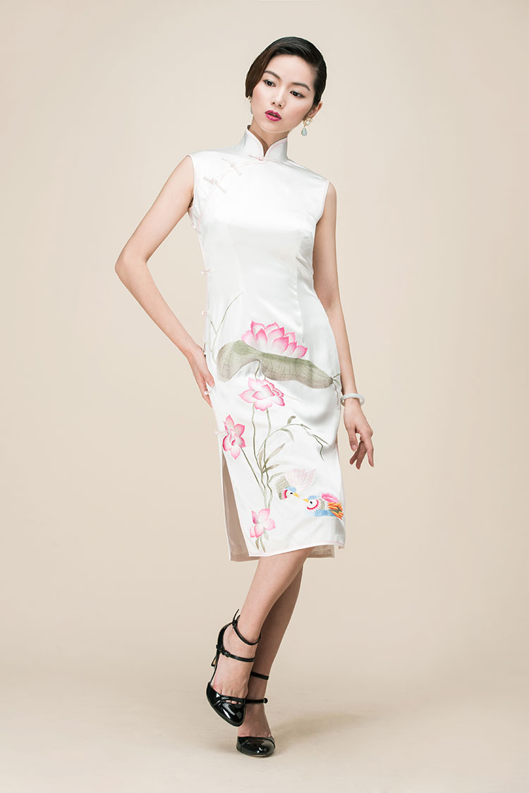 White silk with lotus embroidery qipao dress
