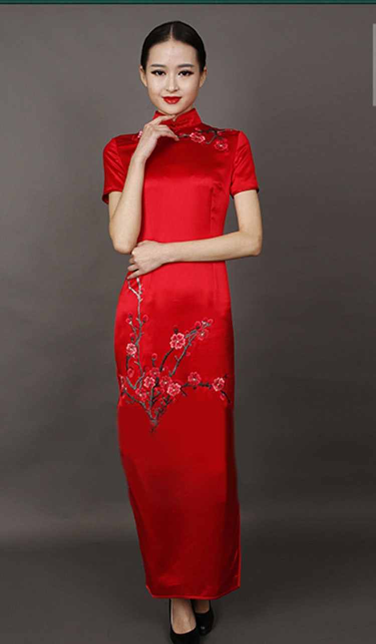 Red long cheongsam dress with plum embroidery
