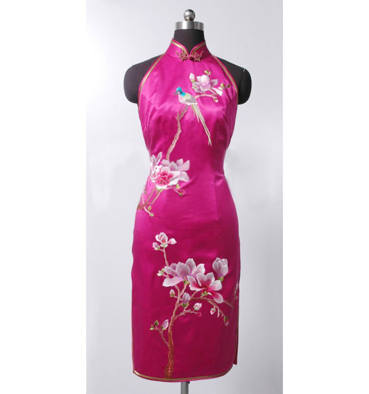 Hotpink silk with embroidery qipao SQE148