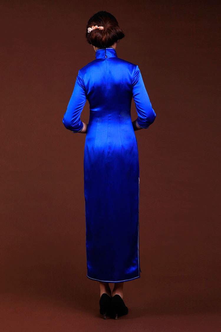 Royal blue silk with embroidery cheongsam dress