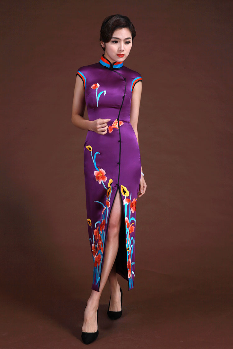 Purple silk with embroidery sleeveless cheongsam dress