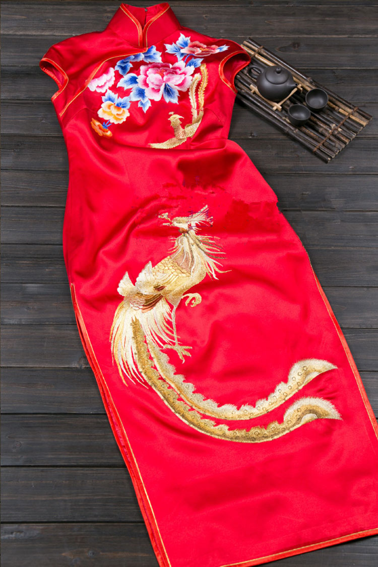 silk cheongsam with golden phoenix