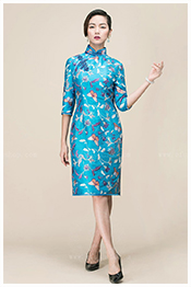 Blue qipao for Chinese lady