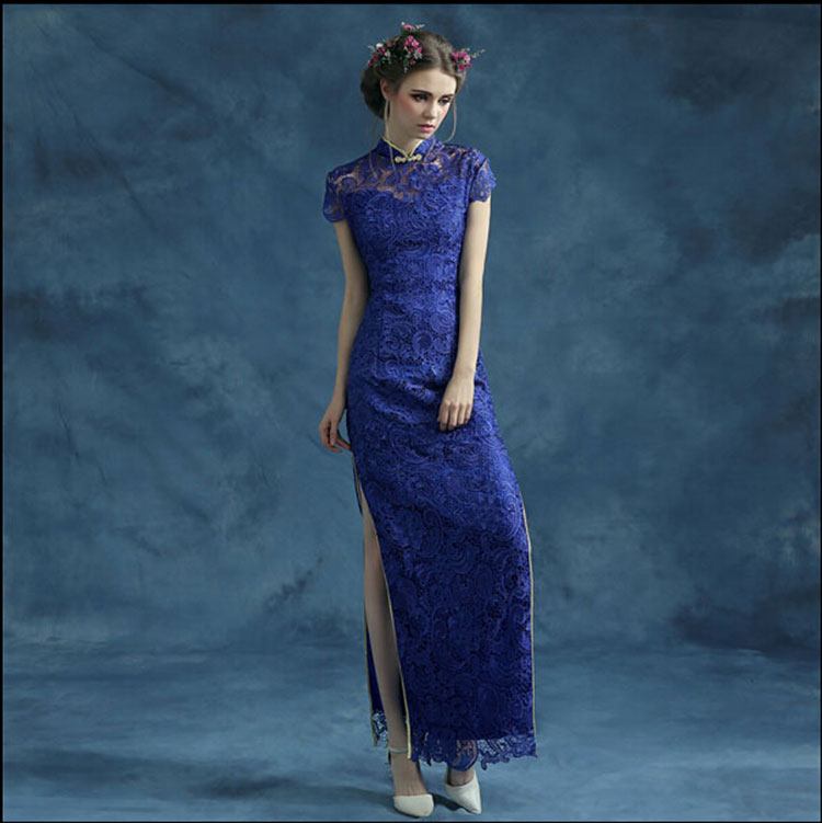 Blue lace cheongsam qipao dress Blue lace cheongsam qipao dress ... cd72cfd7dc58