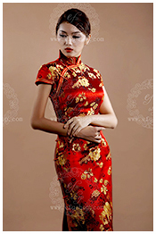 Red wedding qipao for lady