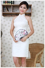 white short qipao