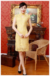 short yellow cheongsam for young lady