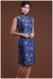 Blue long qipao for mom
