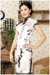 white-black qipao