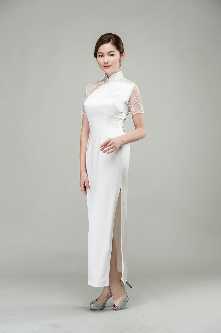 White silk qipao dress with lace back