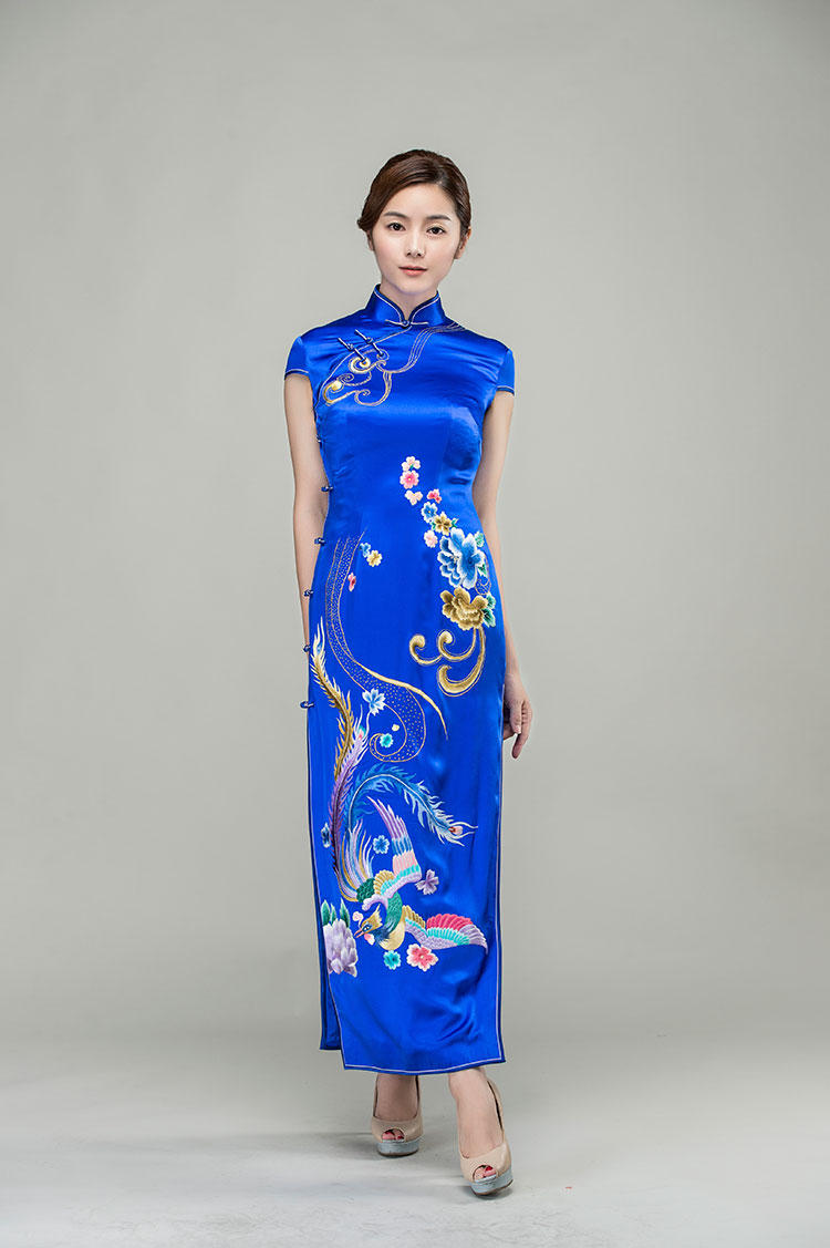 Sapphire blue silk cheongsam with golden phoenix