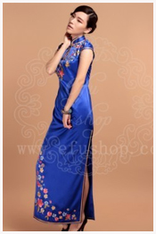 Long blue cheongsam