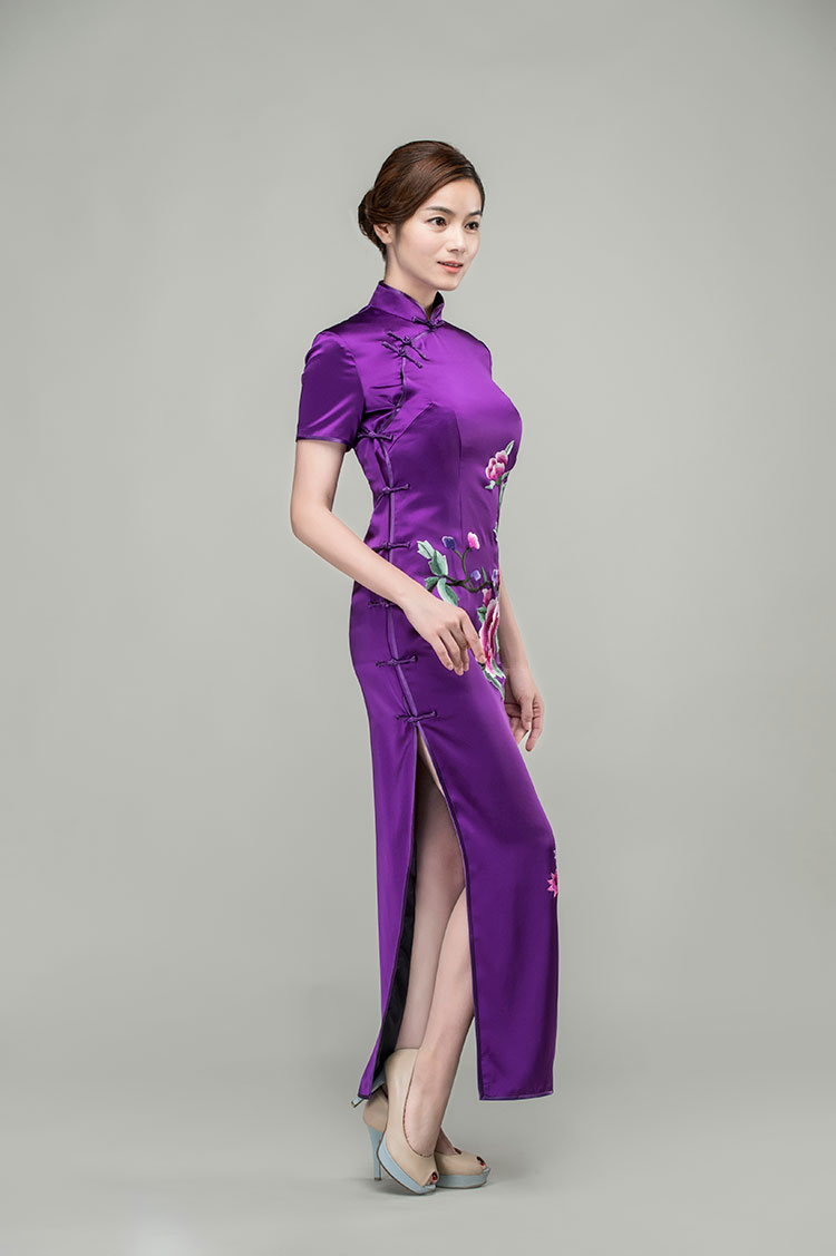 Purple silk with peonies embroidery cheongsam dress