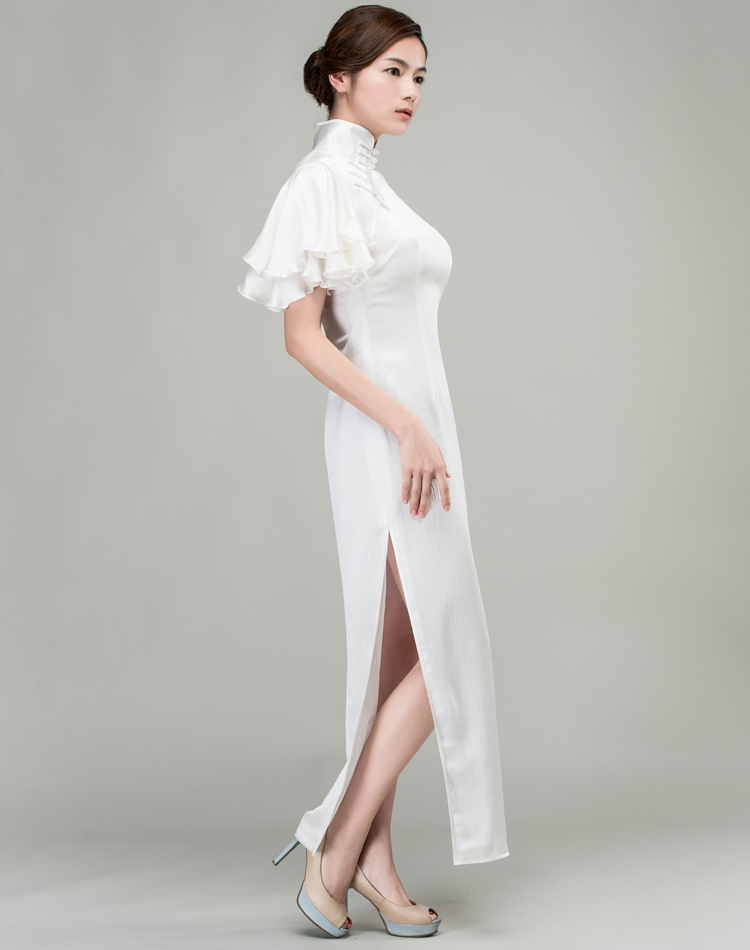 White long qipao dress whith Soft Chiffon frills Sleeves