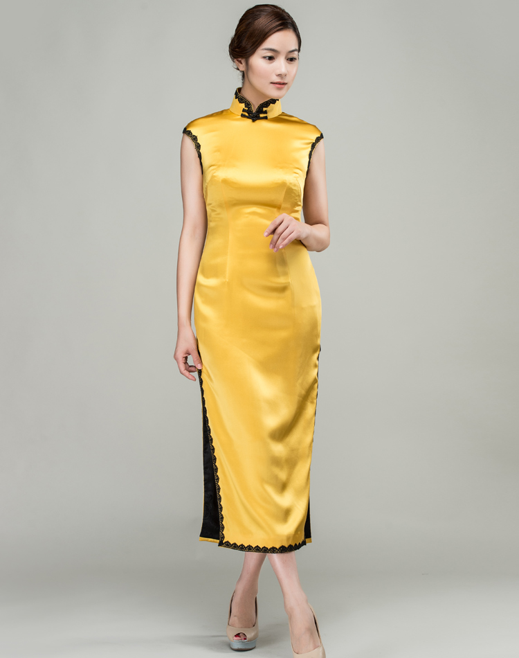 Yellow long cheongsam dress with black trim