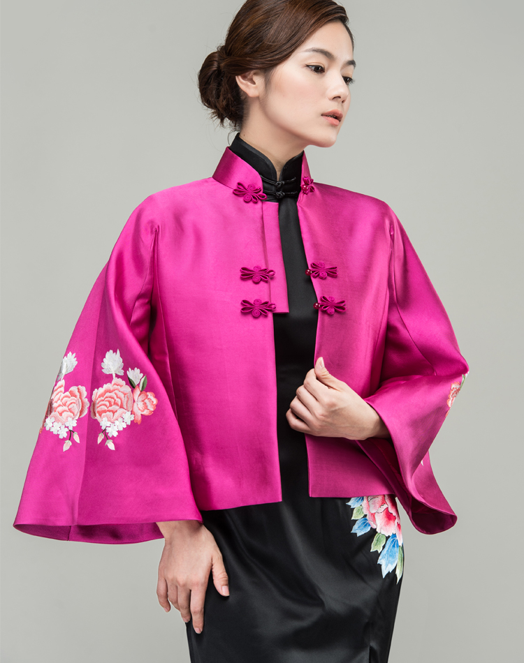 Watermelon Red silk Chinese jacket