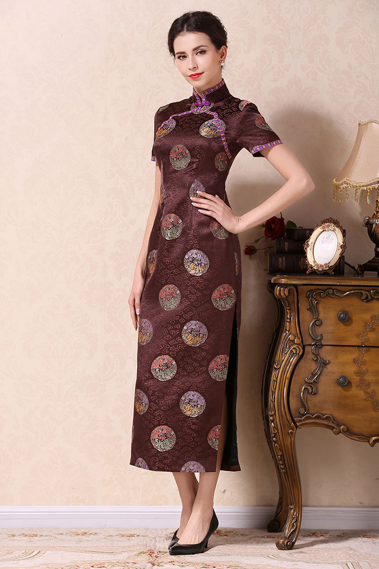 Brown cheongsam dress with dragons circle