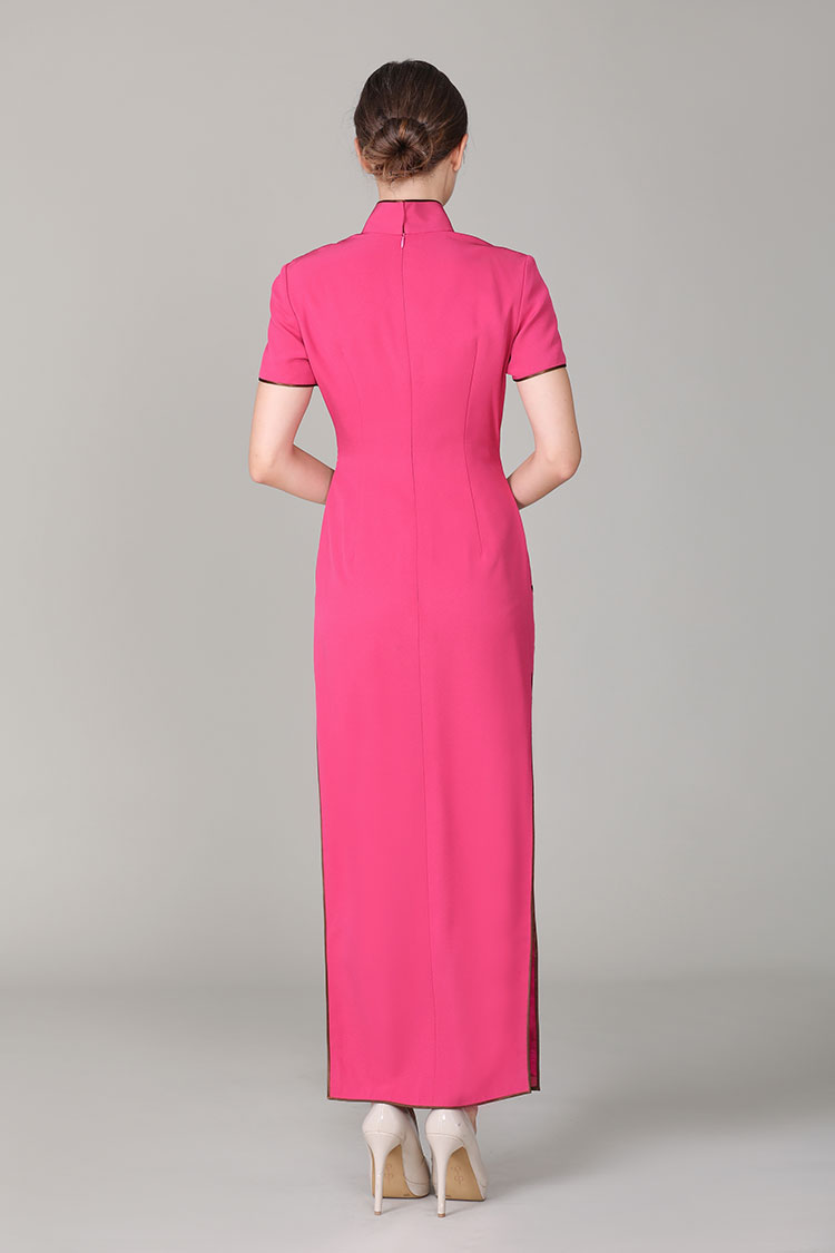 Begonia rose cheongsam dress with embroidery