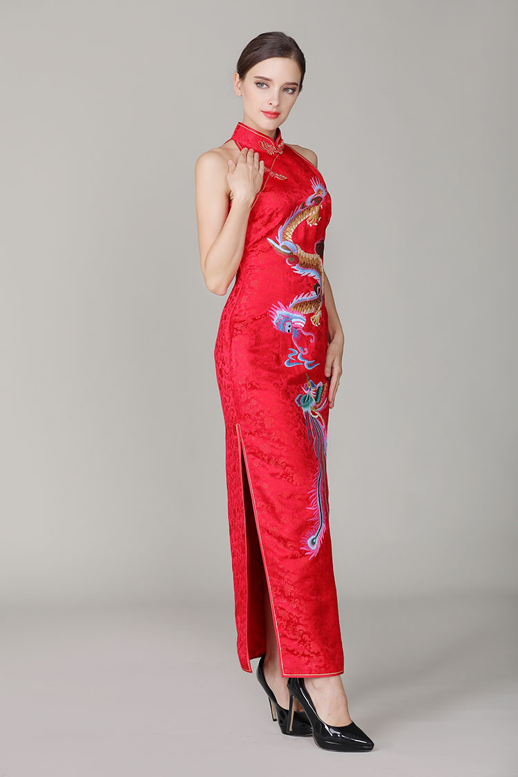 Red chinese wedding dress with dragon and phoenix2861