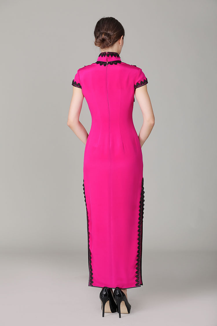 Rose red cheongsam with blacke lace edge