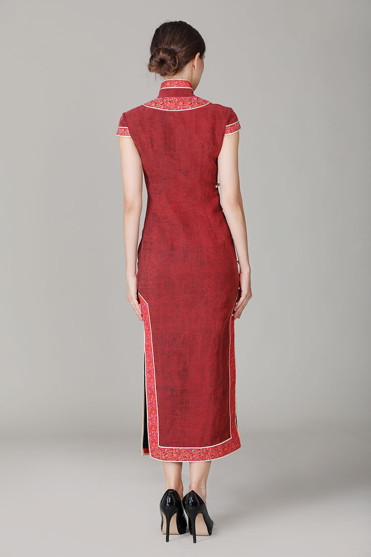 Jagged red Buttercup silk qipao dress