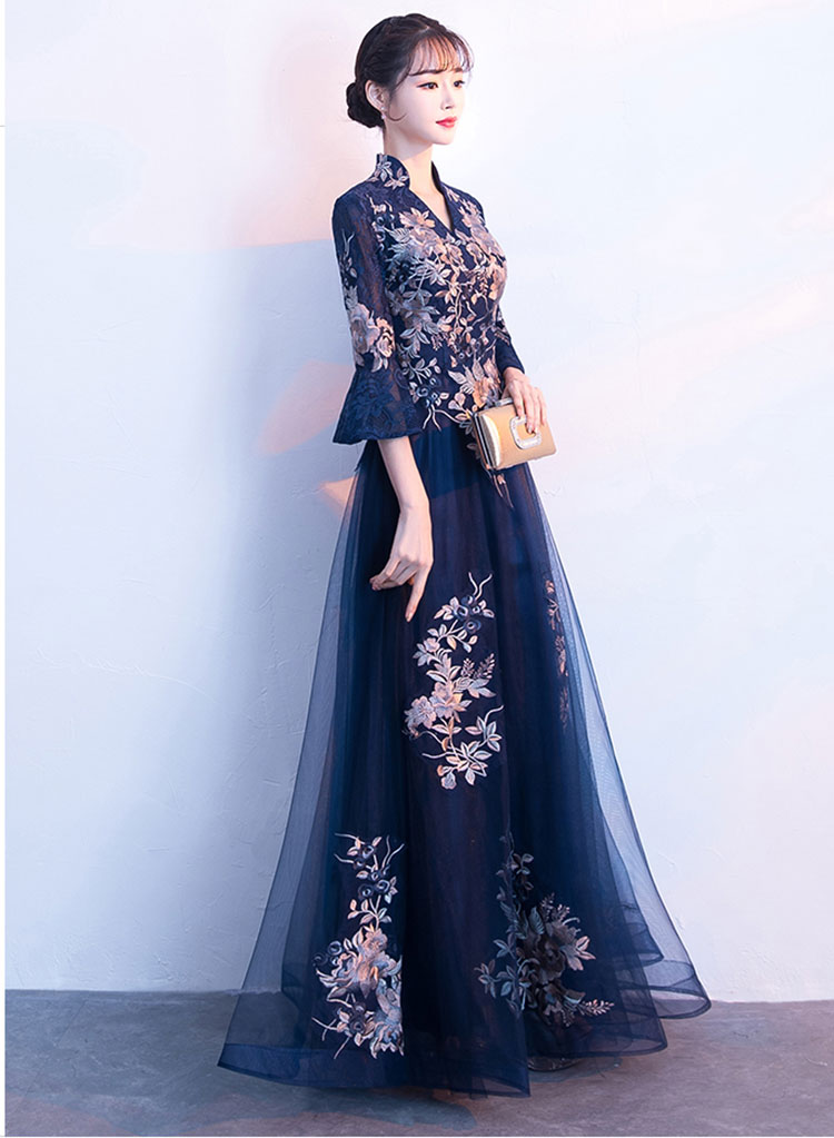 Chinese embroidery tulle evening dress