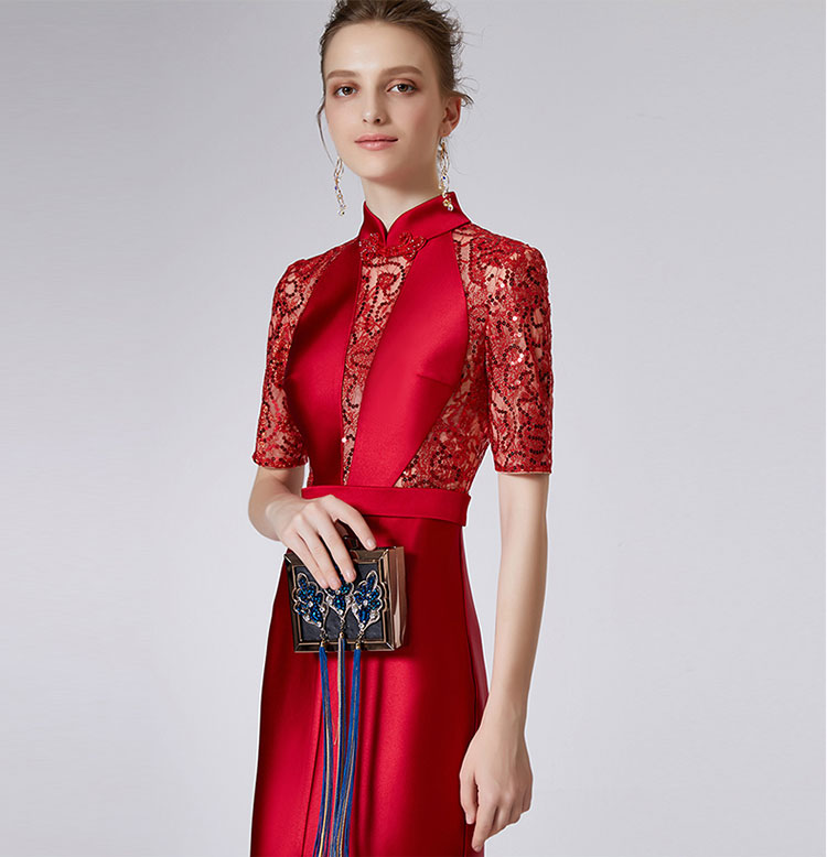 Red Chinese wedding dress with tail