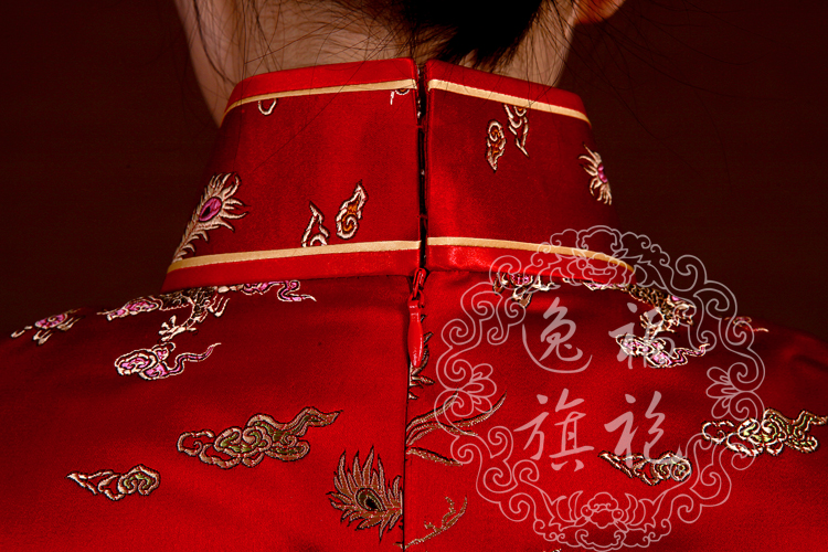 Red Cheongsam dress with long sleeves