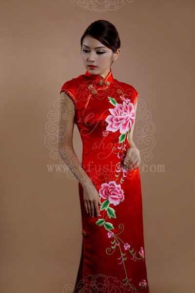 A-line V-neck Asymmetrical Tea-length Chiffon Wedding Dress