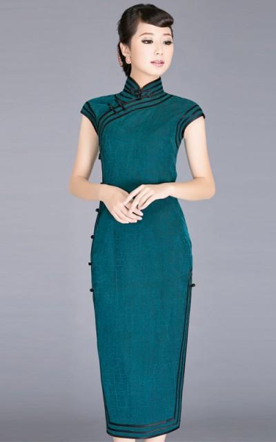 Blue silk watered gauze cheongsam dress scs95 custom for Best custom made dress shirts online