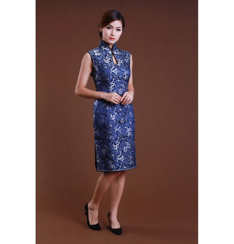 Blue And Indigo Dragon Patterncheongsam Dress Custom Made Cheongsam Chinese Clothes Qipao Dresses Clothing Efu Tailor