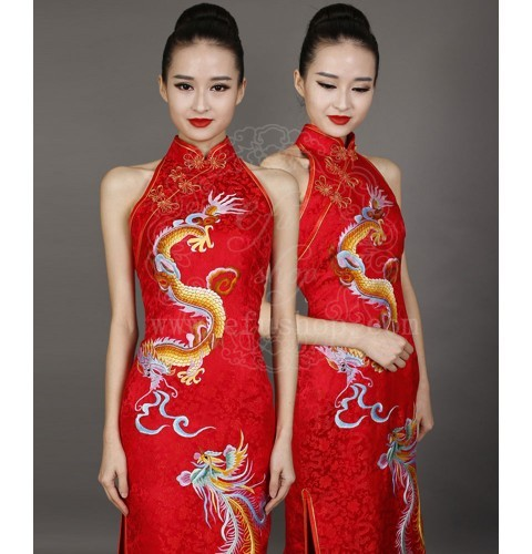 red chinese wedding dress with dragon and phoenix custom made