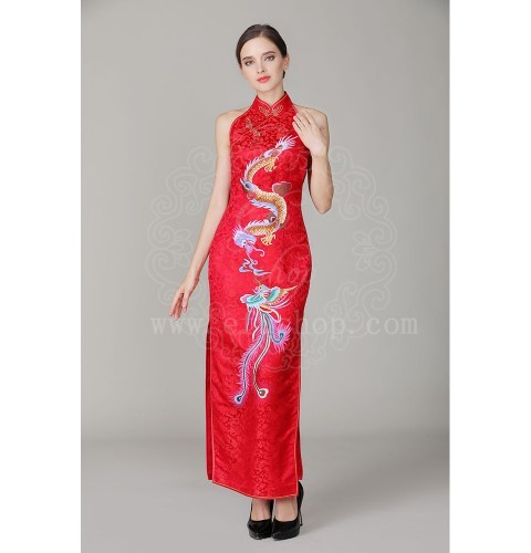 red chinese wedding dress with dragon and phoenix2861 custom made