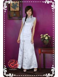 White plum sleeveless moder cheongsam dress SMS45