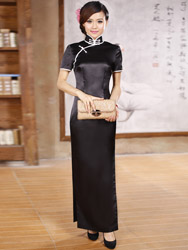 Black silk cheongsam dress scs71