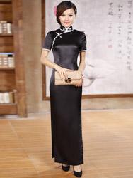 Black silk cheongsam dress scs71