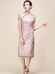 Colocasia color qipao dress