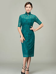 Malachite green lace qipao dress