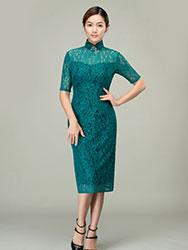 Malachite green lace qipao dress