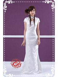 White plum mermaid qipao dress SMS46