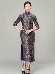 Ruyi & chrysanthemum patterns long cheongsam dress