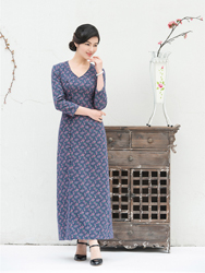 Cotton blue long cheongsam